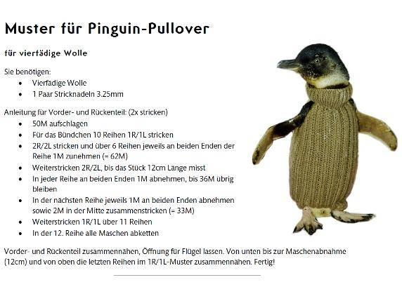 Strickanleitung für Pinguin-Pulli