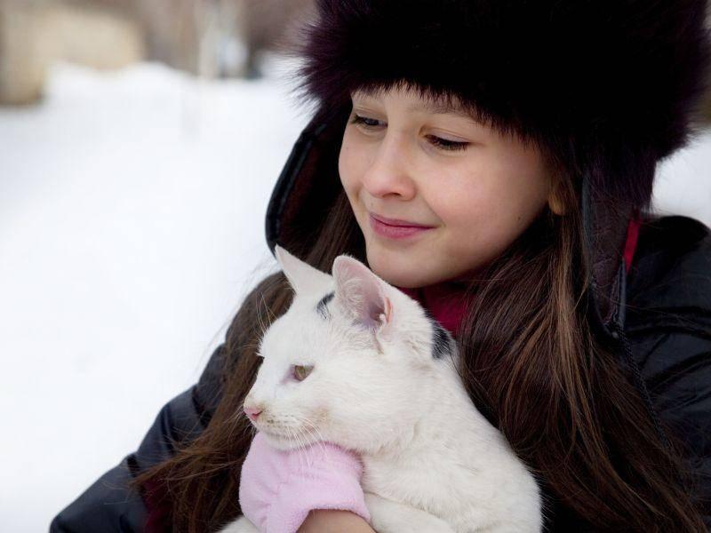 Und frische Luft genießen Kind und Katze gerne zusammen — Bild: Shutterstock / Mira Arnaudova