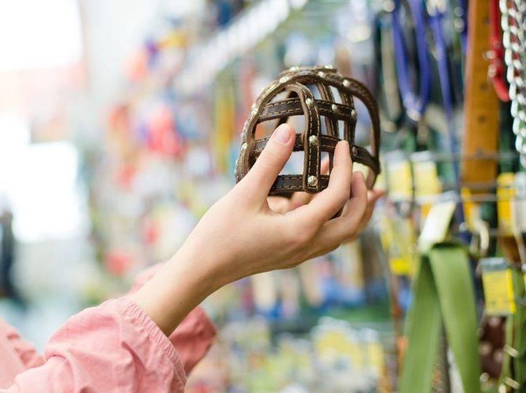 Stabil, nicht zu eng und nicht zu weit: Ein Maulkorb muss perfekt passen – Bild: Shutterstock / Olga Rosi
