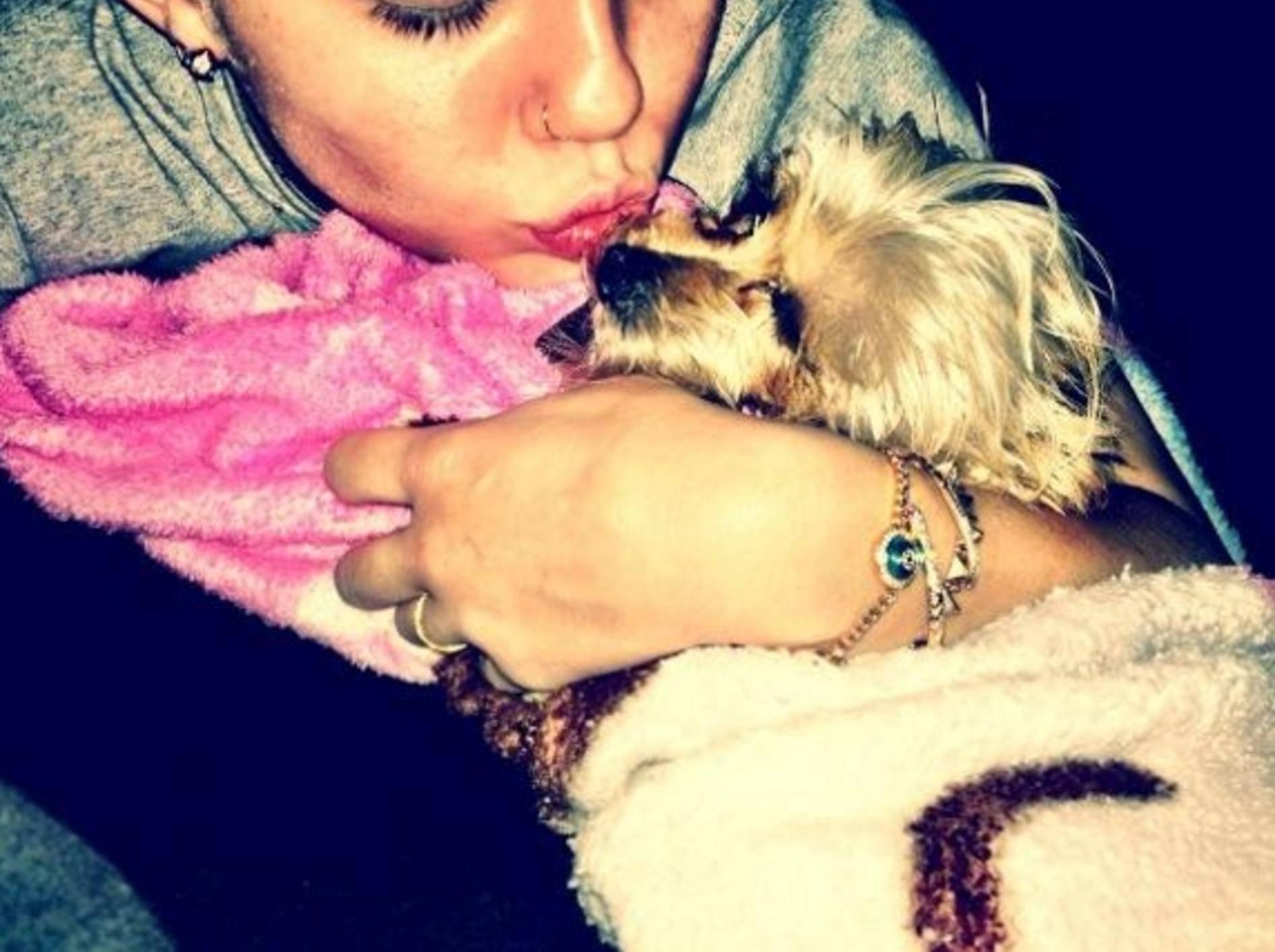 Miley Cyrus mit Hund Lila