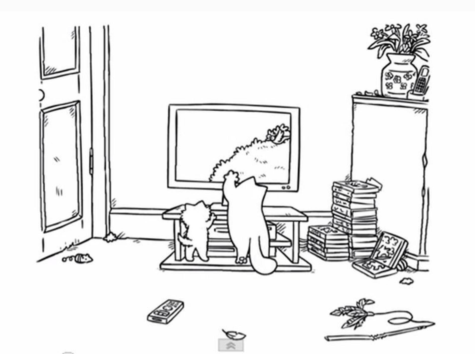 Freches Doppelpack: Simon's Cat(s) vor der Mattscheibe — Bild: Youtube / simonscat