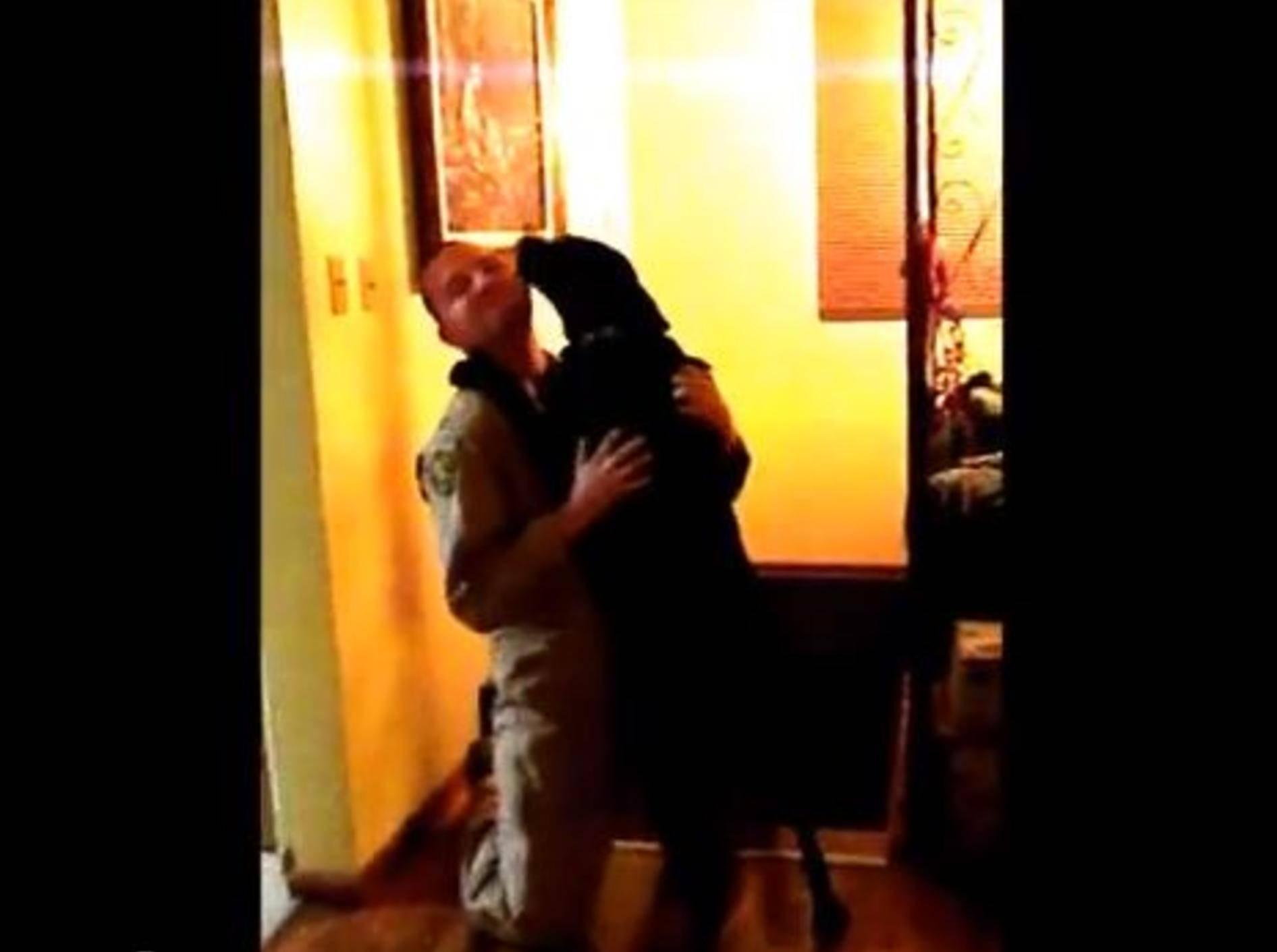 Sooo schön: Hund heißt sein Herrchen willkommen — Bild: Youtube / icecat8301