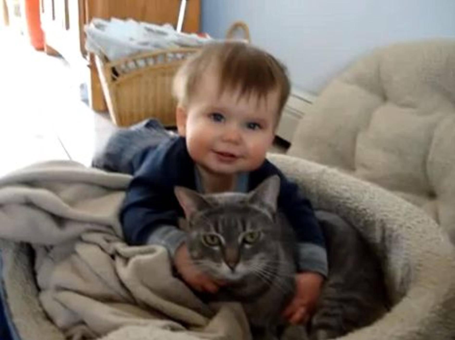 Süßes Baby hat sein Kätzchen sooo lieb — Bild: Youtube / mrmayormike·