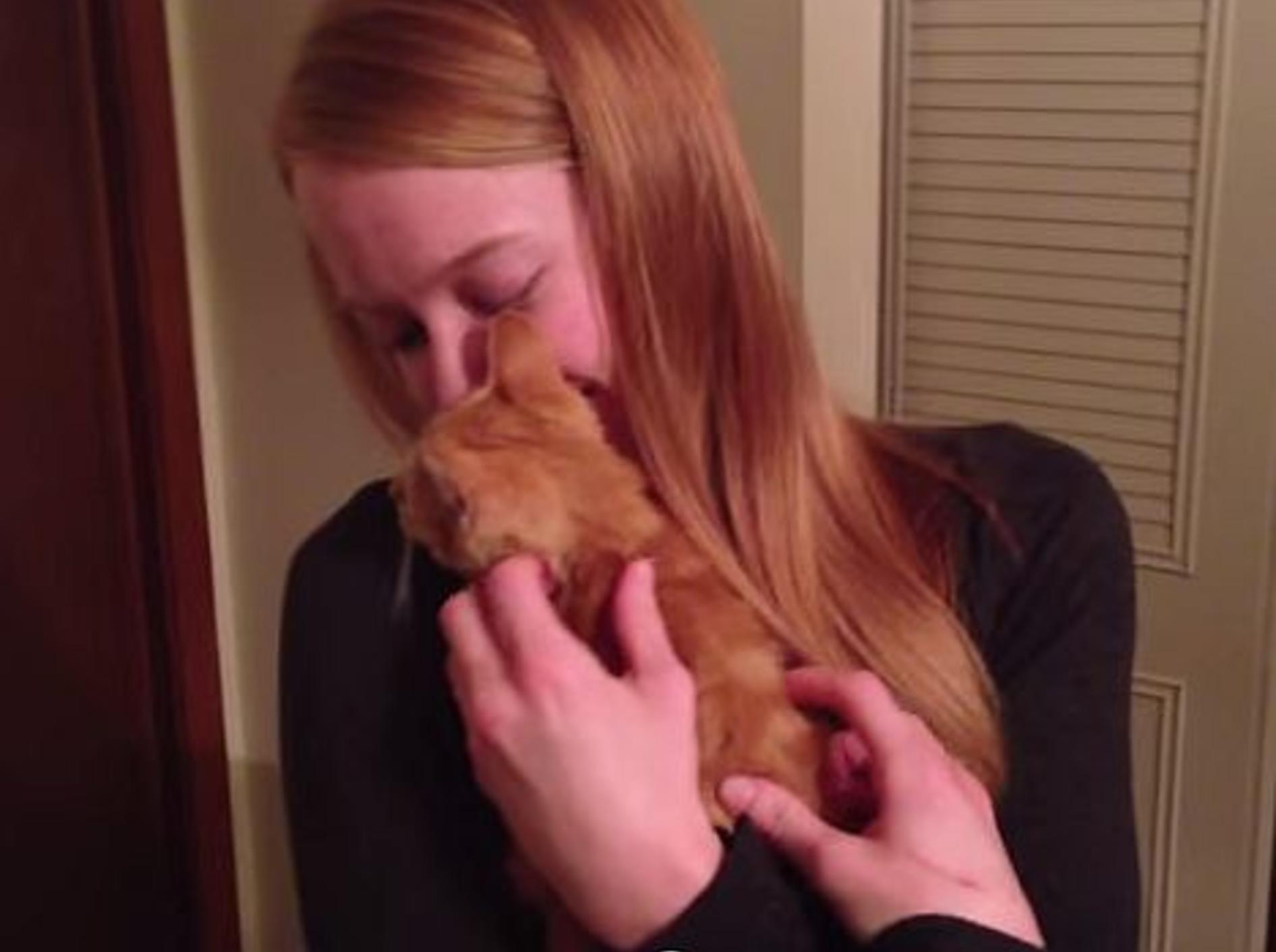 Mädchen bekommt eine süße Katzen-Überraschung – Bild: Youtube / Just A Skinny Boy