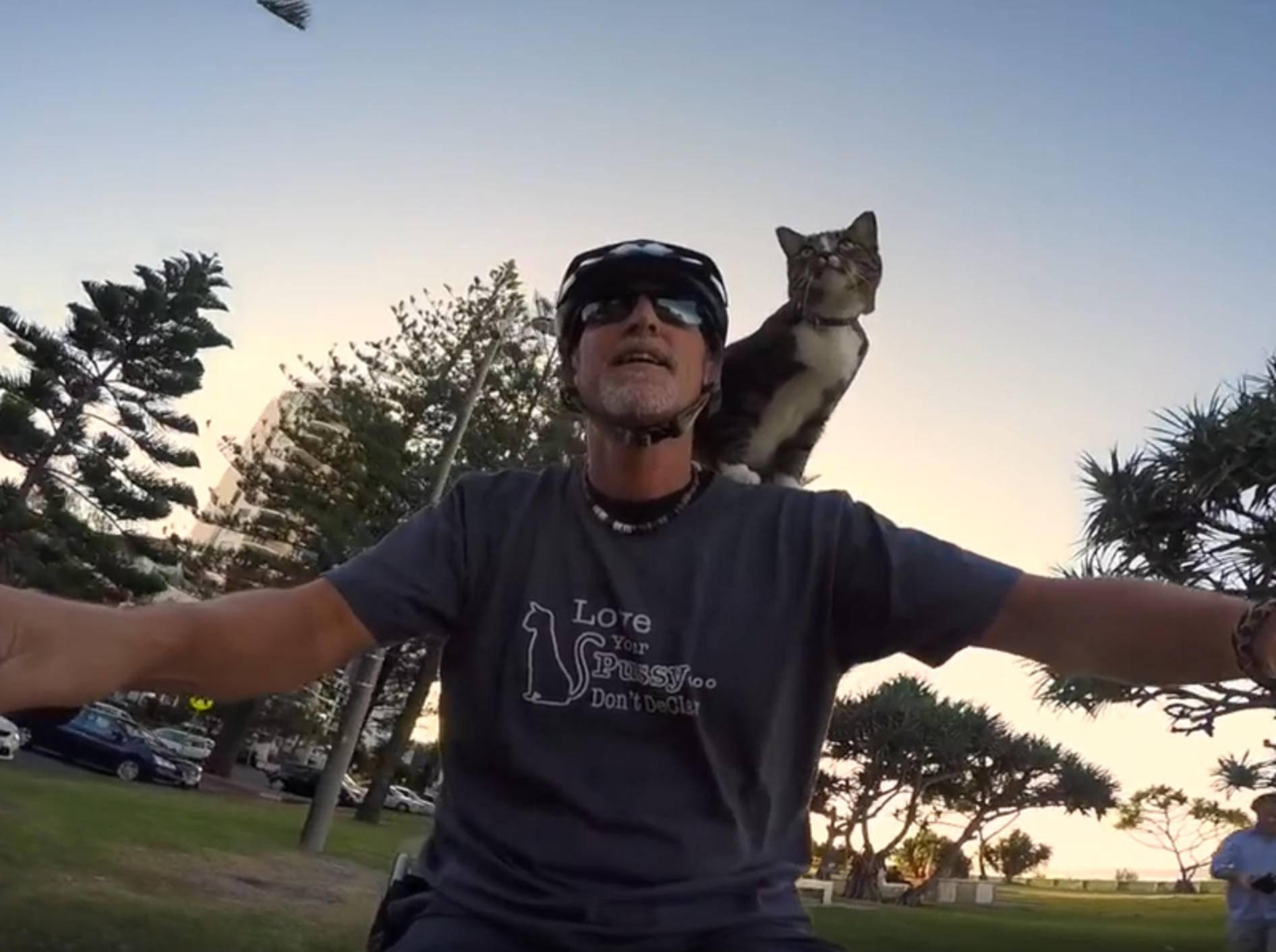 Katze Didga auf Fahrradtour mit ihrem Lieblingsmensch – YouTube / CATMANTOO