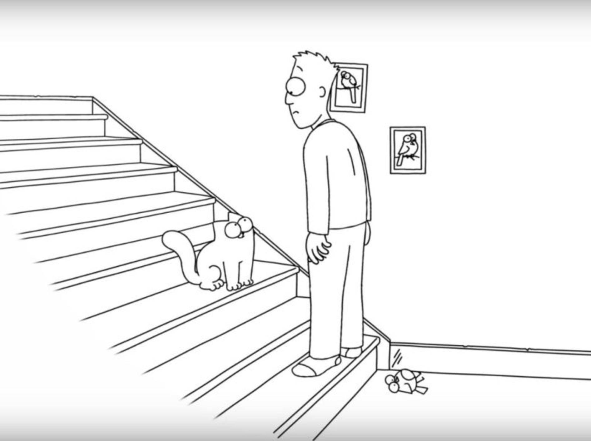 Simon's Cat ist der Wächter der Treppenstufen – YouTube / Simon's Cat